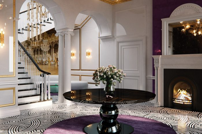 Entrance Hallway: a lovely wood burning fire greets you as you step into the magnificent hall – in classic black, white and gold with a splash of lilac.