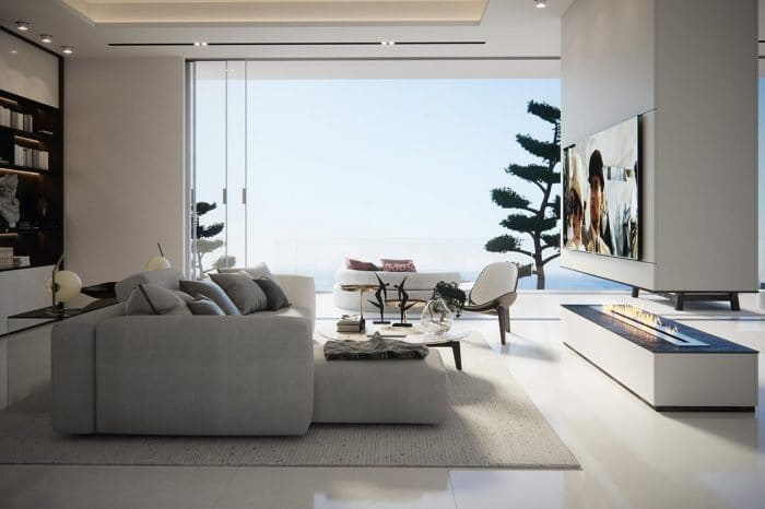 Master bedroom, lounge area and terrace. The design of this lounge area takes its inspiration from a 5-star hotel suite with everything at hand.