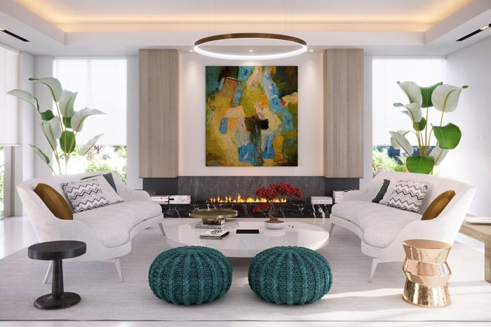 Living area: the abstract painting in the living area, by Owanto, came first and was the inspiration for the design.