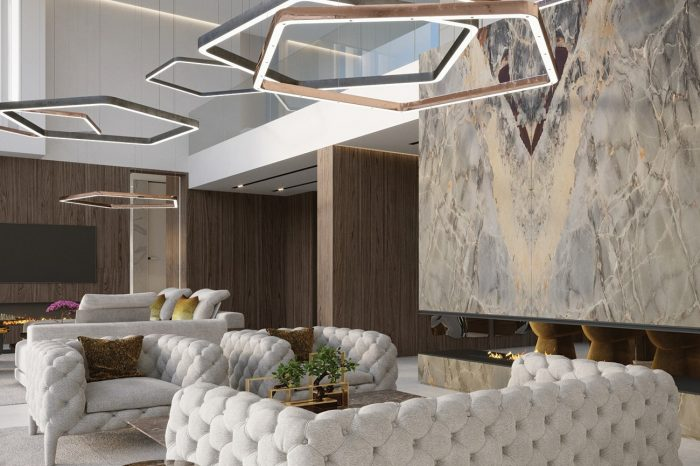 Lounge: off-white velvet Capitone sofas with brass and steel Henge lamps overhead, and slabs of onyx and walnut panelling