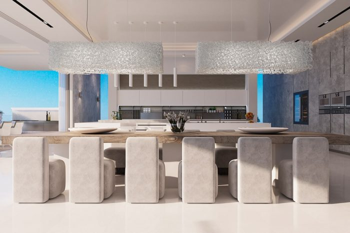 The dining area with the flush, almost unnoticeable, kitchen area, allows for social cooking