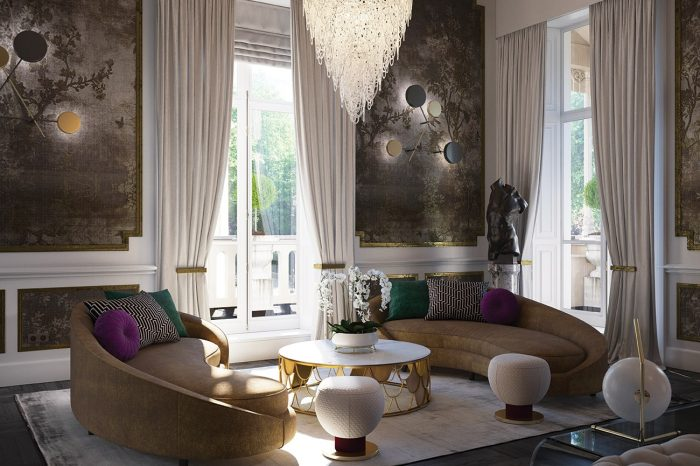 Cosy corner in the main lounge: each piece is meticulously placed to create the ultimate informal sitting area, from the beautiful, bespoke curved sofas to the Art Deco crystal chandeliers.