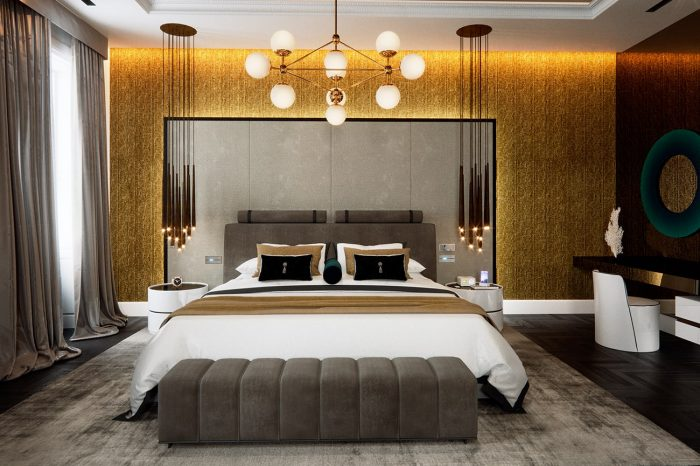 This grand master suite oozes style and luxury, from smoked mirror ceilings to gold leaf wallpaper
