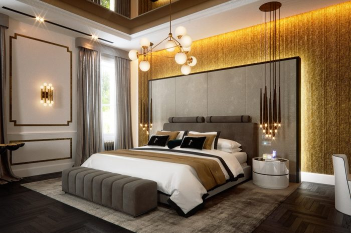 Master suite with the huge emperor-sized bed