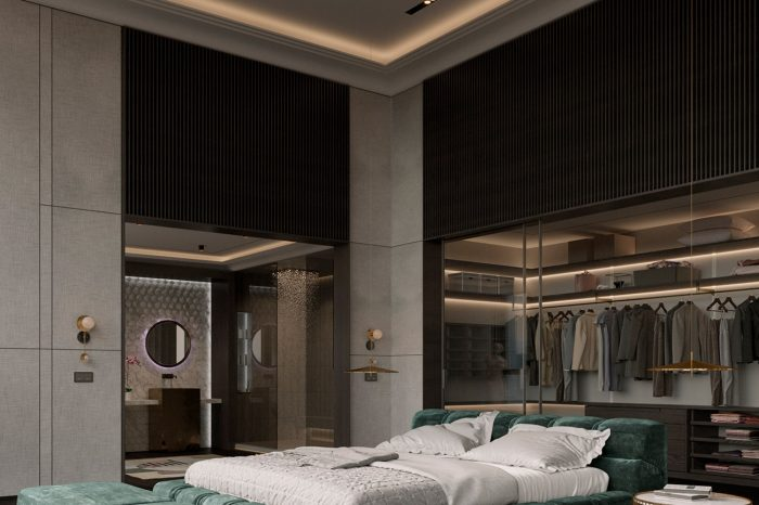 Full luxury wardrobe behind the bed. Ambient lighting.