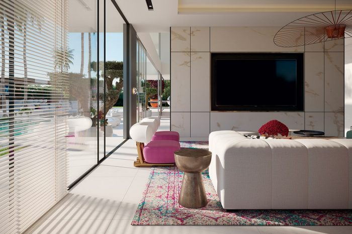 The TV Room: The villa's television room features the vibrant colours and artistic themes of the formal lounge, but focuses on practicality, functionality and comfort, an area for the family to spend a lot of time in.