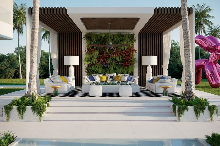 The mother of all chill-out zones is raised above the pool area with illuminated marble stairs, its borders defined by a living wall and palm trees. Its symmetry is an architectural feature of the whole property.