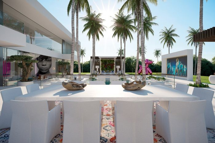 This home has a pool area any 5-star hotel would envy, a full-on club atmosphere and the playful sophistication of an informal art gallery