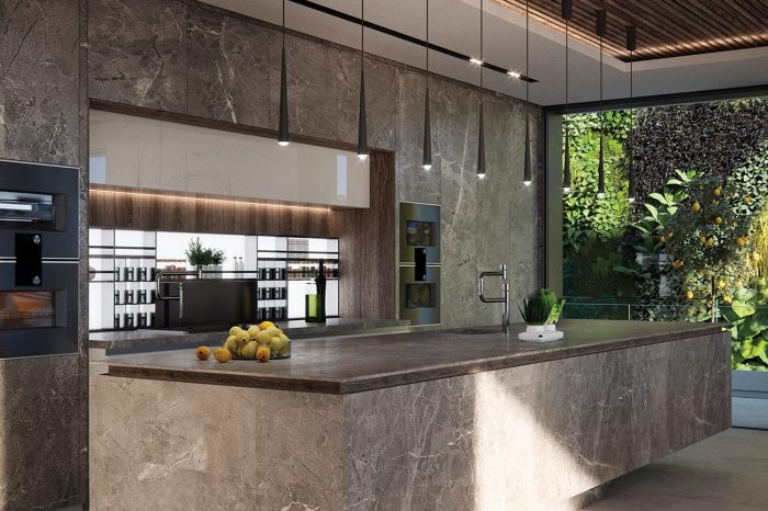 The Kitchen. The floor-to-ceiling window brings you across a walkway to the vertical herb garden just metres away.