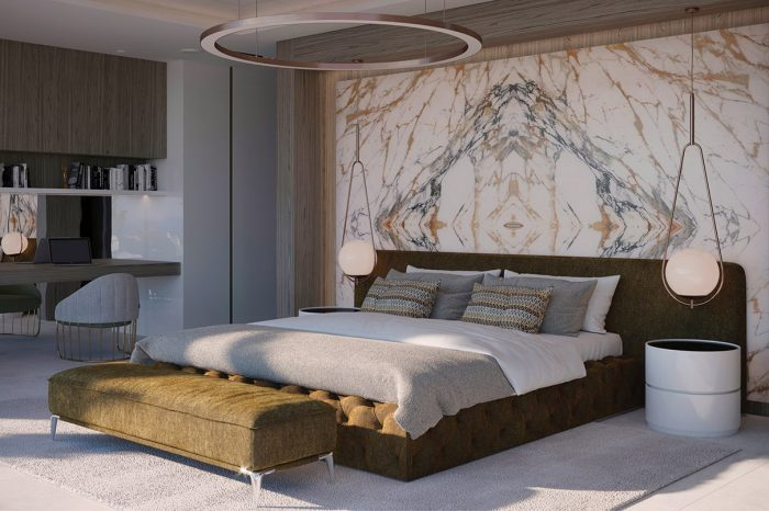 Master Bedroom: the beautiful backlit onyx wall behind the headboard is subtle enough not to dominate the room. The television set is hidden in the mirror, making it invisible when not on (you only see your own reflection!).