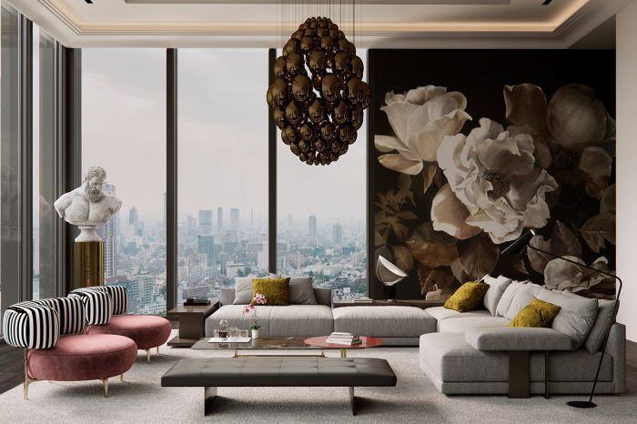 High ceilings, chandeliers, classical sculpture and designer furniture with splashes of bold colours