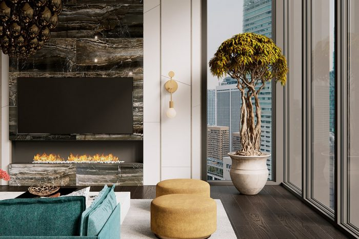 Dark wooden floors and bright splashes of colour in the designer furniture