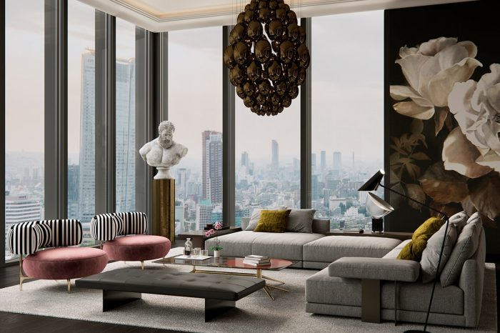 The lounge is eclectic and sophisticated