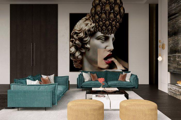Modern artworks add a sensual and cheeky mood