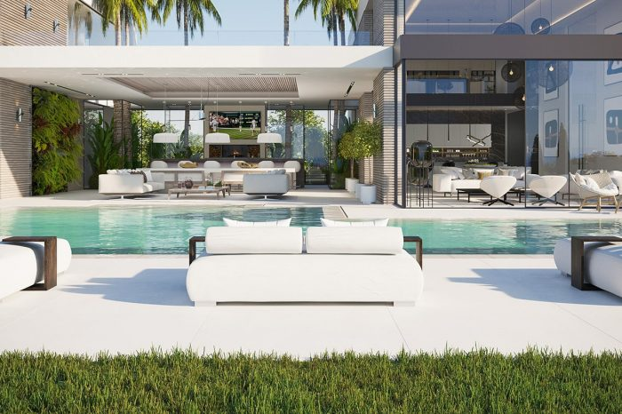 View from the pool looking into the house and terrace - indoor-outdoor living at its best