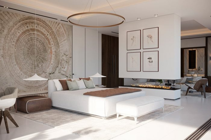 Master Bedroom Suite - the floating open fire place structure separates the sleeping area from the TV-lounge area.
