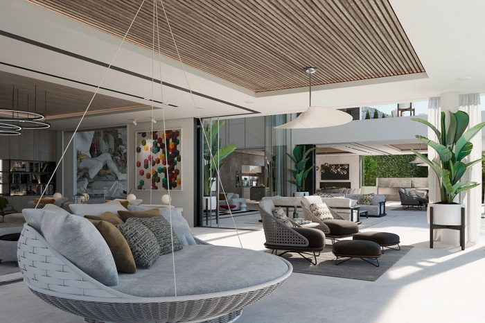 The Family TV room and terrace: the swinging day bed is the perfect place to take your siesta.