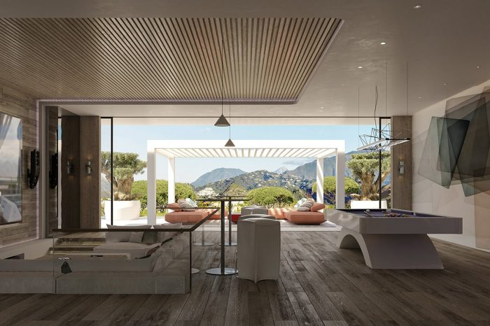 View across the entertainment space to the terrace beyond