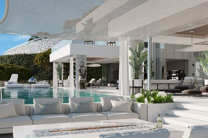 This magnificent terrace manages to cleverly contain five distinct areas – the sunbathing area, the fire pit with comfy sofas, the TV room terrace, the kitchen and dining terrace, and the formal lounge terrace.