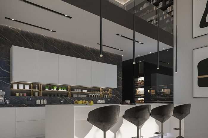 The kitchen is a perfect play of minimal shapes and lighting