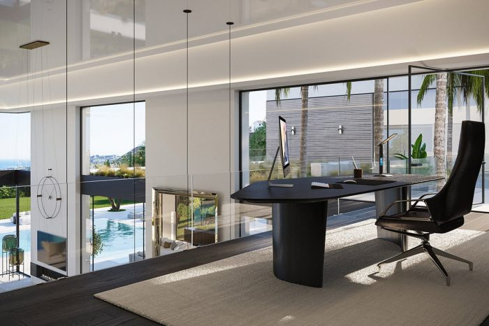 An office to die for. With views over the lounge area, the vast countryside and the Mediterranean Sea, it also has its own garden and direct access to the master bedroom.
