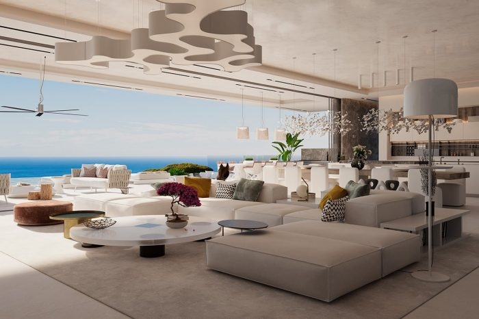 View across lounge to terrace and view beyond
