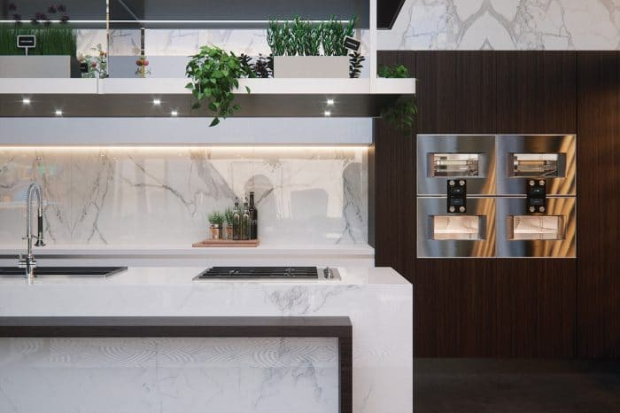 The beautifully equipped kitchen with floor-to-ceiling Italian marble
