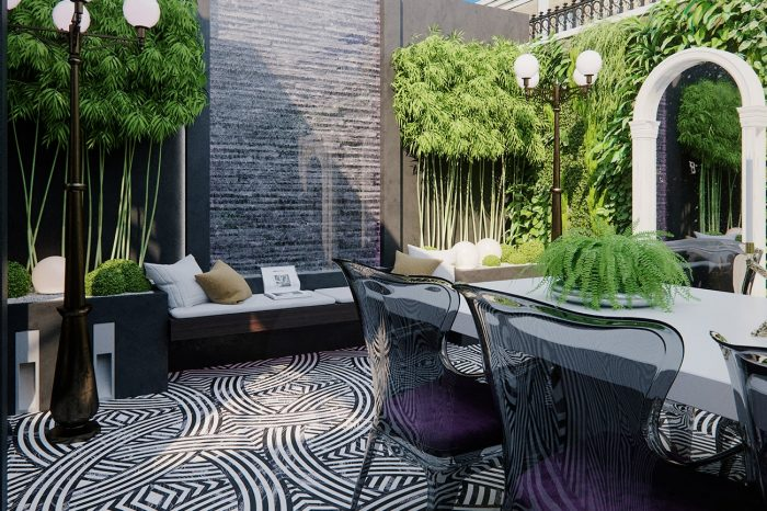 This beautiful patio with it's living herb garden has the same flooring as the entrance hallway