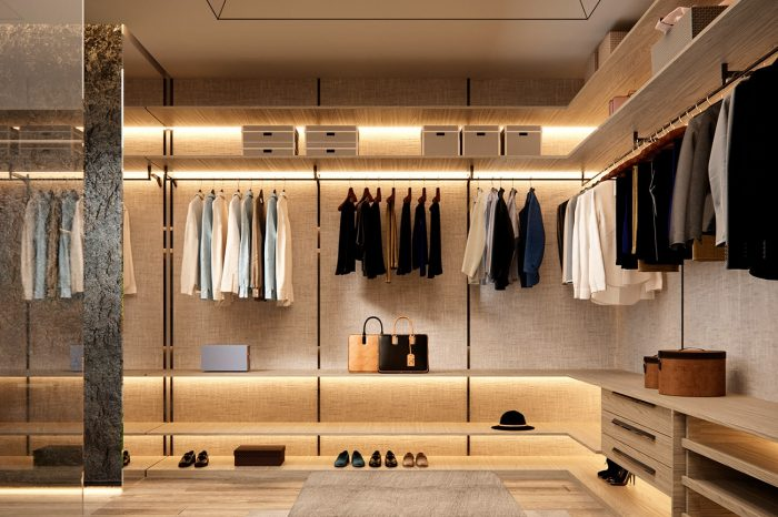 The walk-in wardrobe is a comfortable place to choose your outfit.