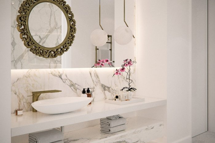 """Her"" bathroom with a gold and white elegant colour palette"