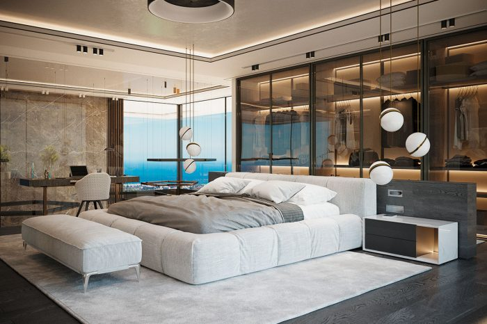 Natural light floods into the bedroom
