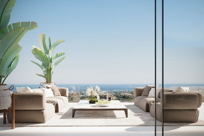The terrace enjoys 180-degree sea views from the B&B Italia outdoor sofas.