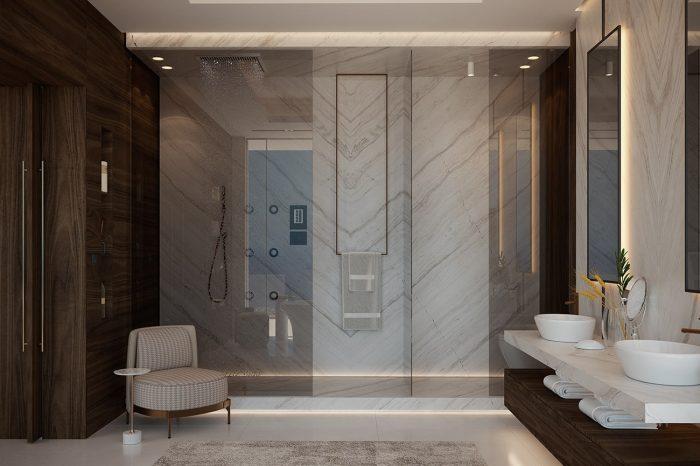 Master Bathroom with sleek dark wood detailing and Italian marble