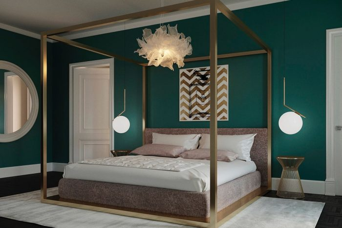 The distinguished colour palette for this guest bedroom highlights the beautiful Flos lighting