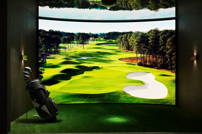 This state-of-the-art golf simulator allows you to play on any course in the world.
