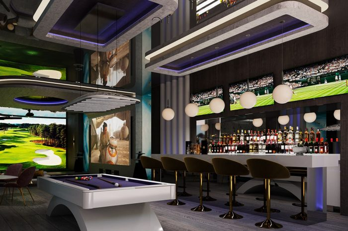 Entertainment room: this view looks towards the golf simulator. There are two VIP seating areas opposite the bar which would rival the coolest nightclubs in Marbella.