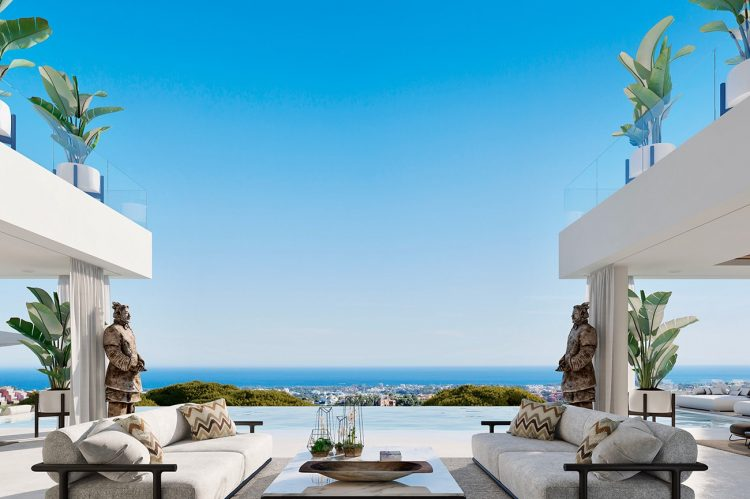 The Formal Lounge Terrace with its magnificent views towards the Mediterranean.