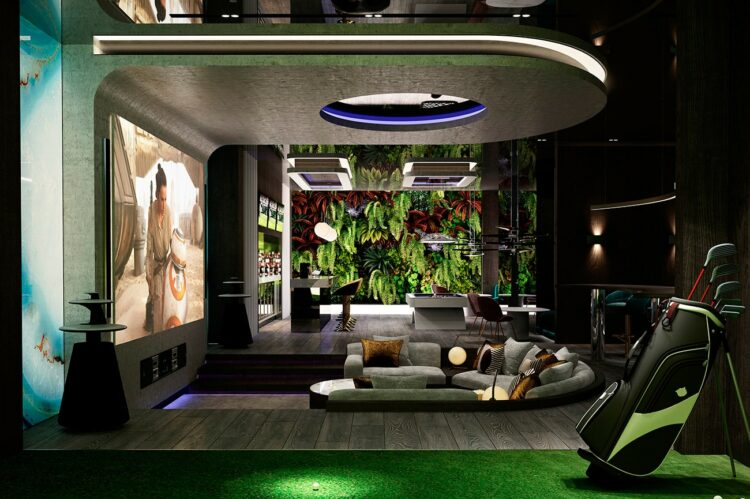 Entertainment room: the view from the golf simulator across the entire entertainment space to the vertical wall of living greenery beyond.