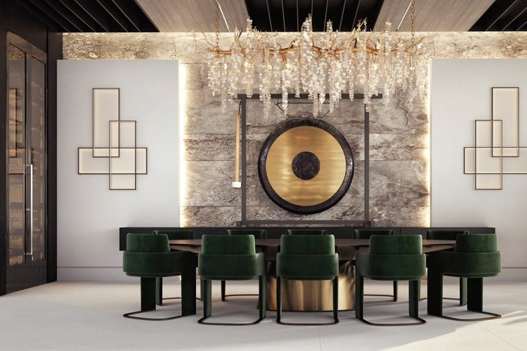 The formal dining area, a masterpiece of toned symmetry. The centrepiece is the large gong, waiting for a cook to hammer the start of a 1940s film by the Rank Organisation