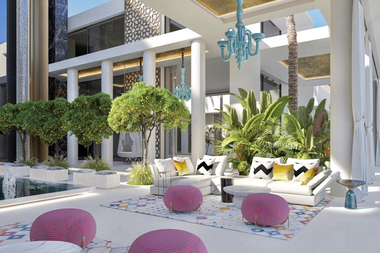 Bright, contemporary furniture in the cortijo area. Citrus trees infuse the area with sweet scents