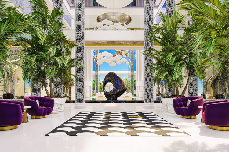 The view here is of a huge black marble sculpture floating on water, flanked on both sides by mosaiced columns.