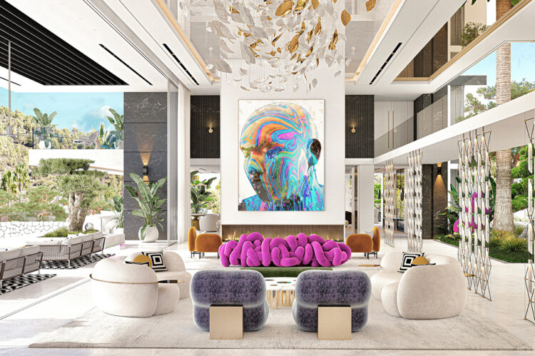 """The lounge has art everywhere - on the walls, hanging from the ceiling, on the floor, even in the pieces of furniture themselves. In the centre is a beautiful image by Tim Tadder from his latest collection """"Black is a Colour""""."""