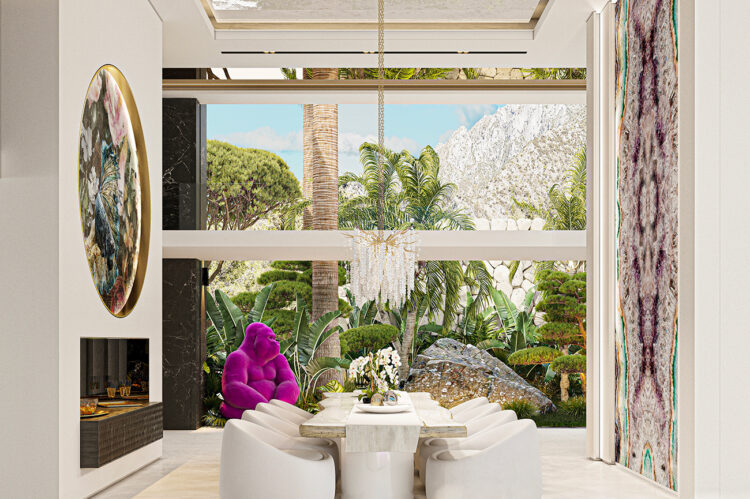 In the dining room he huge rock in the garden becomes an integral part of an overall muted design, the gorilla providing the splash of colour.