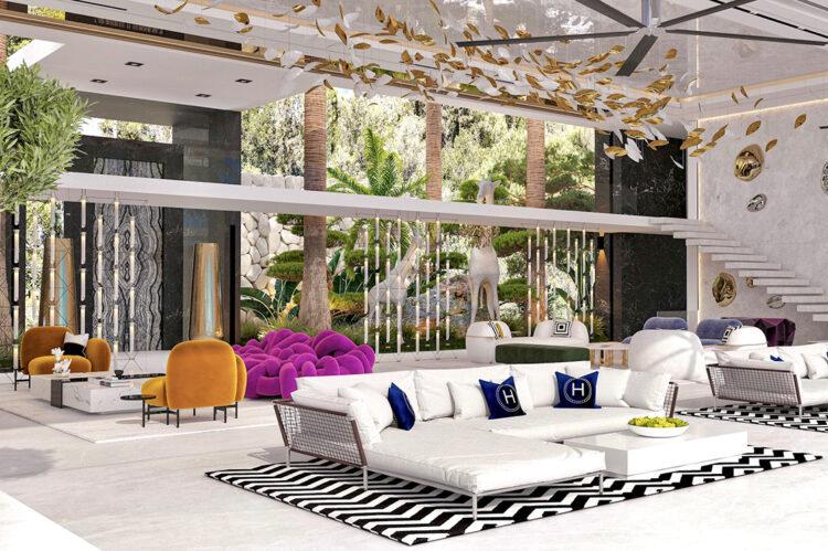 View across lounge showing interior garden and giraffe sculptures