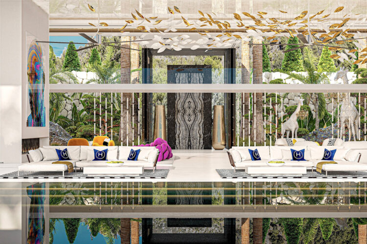 View across the pool, terrace and lounge.