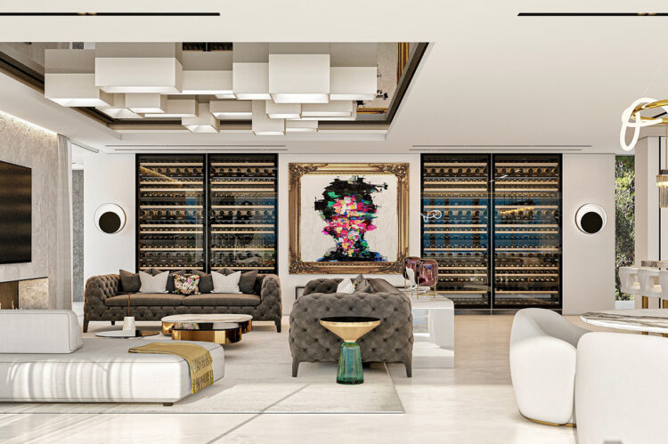 The view across the family space showing the four large wine display cabinets