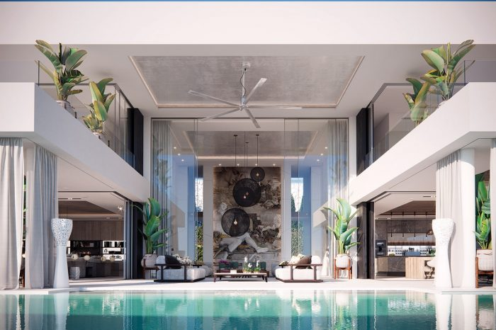 View across the pool to the Formal Lounge