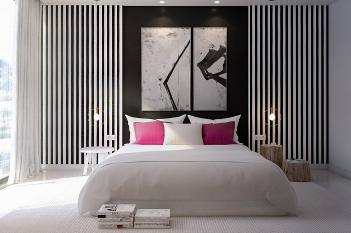 A striking black and white combination with a splash of bright colour
