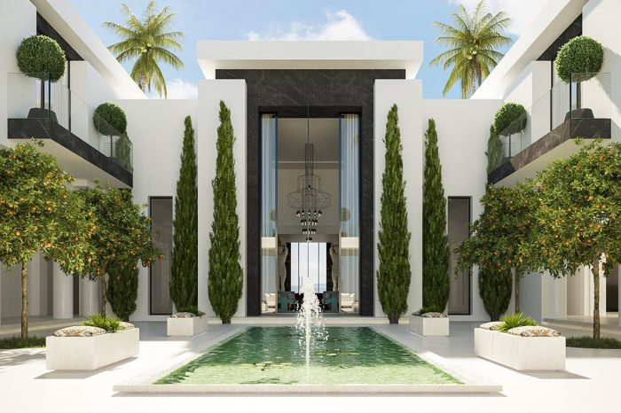 The view here recalls the formal beauty of the Alhambra Palace gardens, where symmetry creates an understated masterpiece of patio architecture.