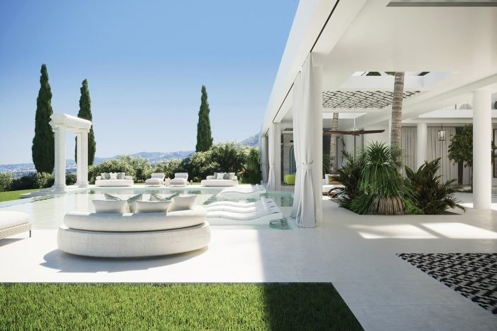 View over the spacious terrace and pool area